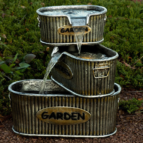 "20"" Old Fashioned 3 Tier Garden Tin Fountain"