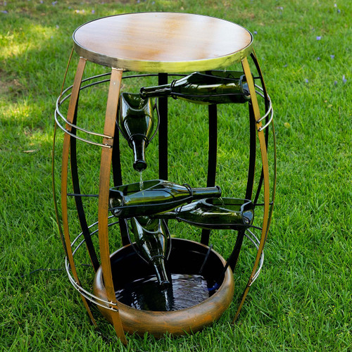 "30"" Metal Fountain w/ Tiered Glass Bottles"