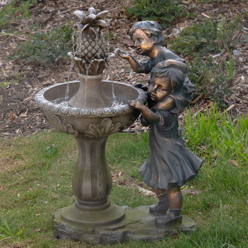 "27"" Boy and Girl with Pineapple Fountain"
