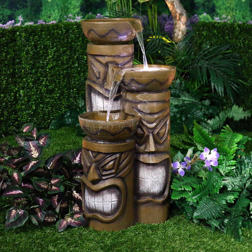 "29"" Triple Tiki Fountain with White LED Lights"