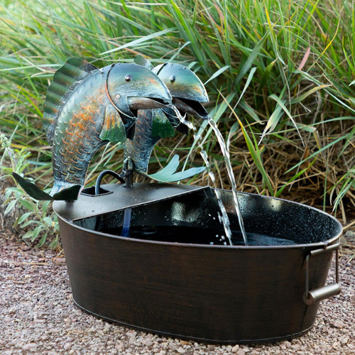 "17"" Metal Double Fish Fountain"