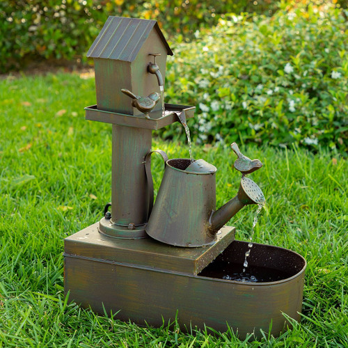 "24"" Birdhouse into Water Can Floor Fountain"