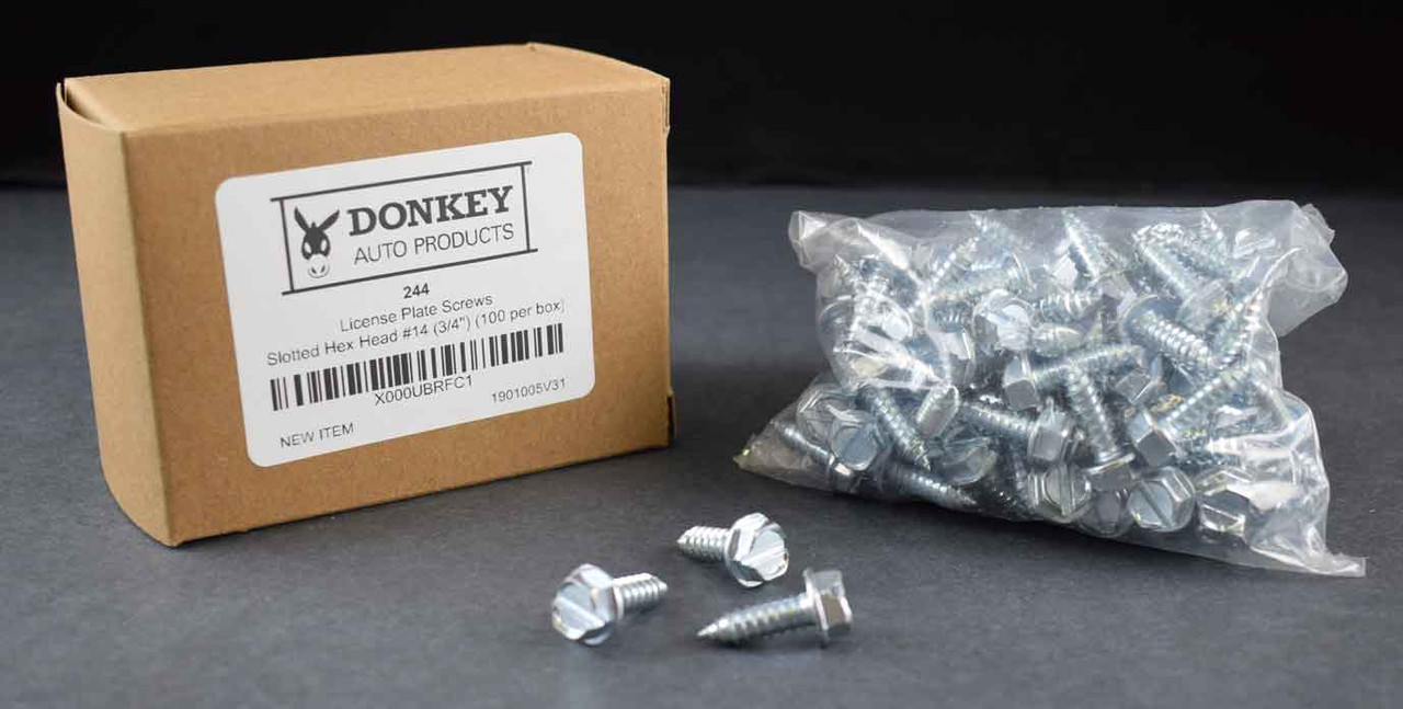 6mm X 16mm Metric Slotted Hex Head Donkey Auto Products License Plate Screws 100 Per Box