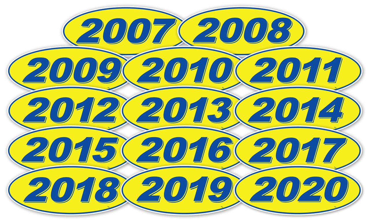 Oval model years window stickers blue on yellow 12 per pack