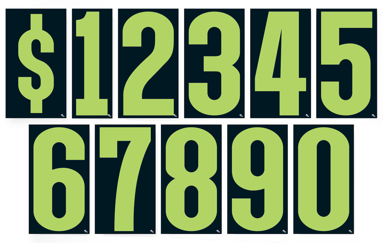 Advertising numbers window stickers vinyl digits 9 1 2 fluorescent green and black 12 per pack
