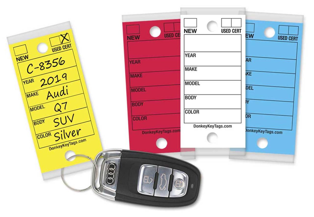 CAR DEALER 500 PLASTIC YELLOW KEY TAG W//MARKERS /& RINGS