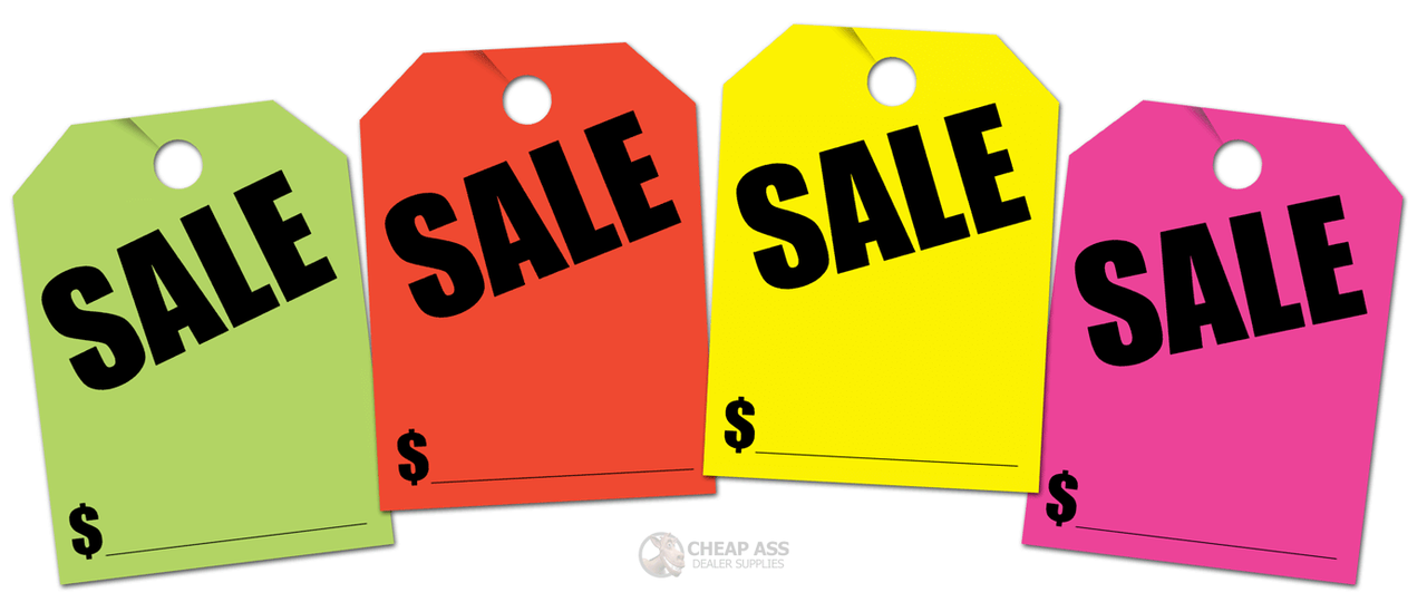 Fluorescent Pink Donkey Auto Products Fluorescent Jumbo Car Mirror Sales Hang Tags SPECIAL 50 per pack