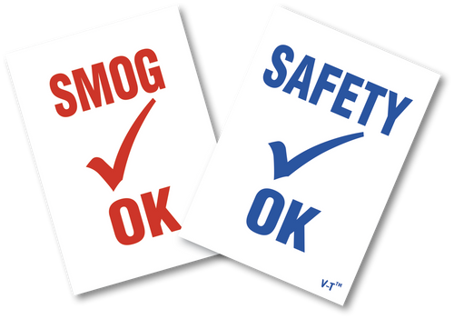 Static Cling Inspection Sticker - SAFETY OK or SMOG OK (100 per pack)