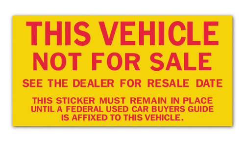 Vehicle Not For Sale Sticker (100 per pack)