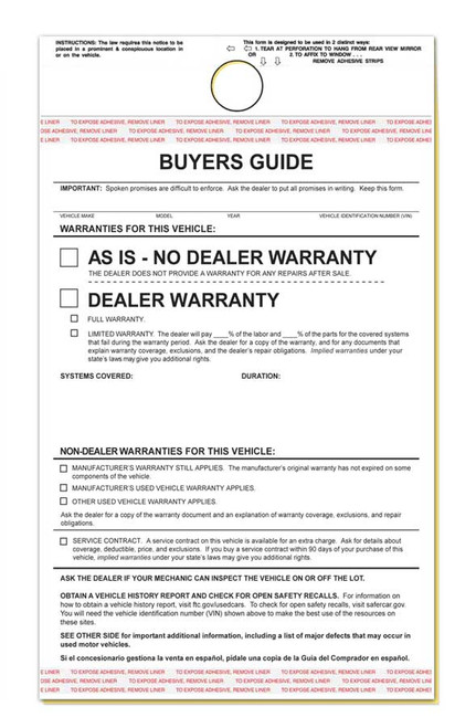 2-Part Hanging Buyers Guide With Adhesive - As Is / Warranty (100 per pack)