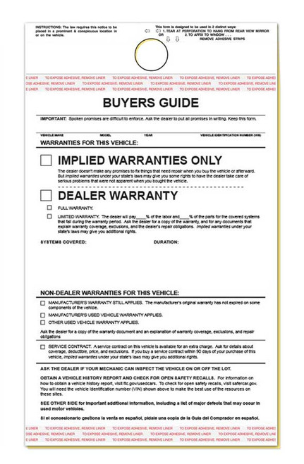 2-Part Hanging Buyers Guide With Adhesive - Implied Warranty (100 per pack)