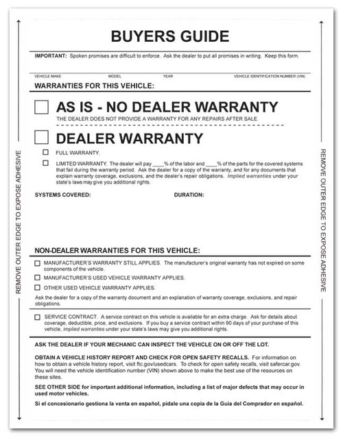 Front: 1-Part Self-Adhesive Buyers Guide - As Is / Warranty - No Lines (100 per pack)