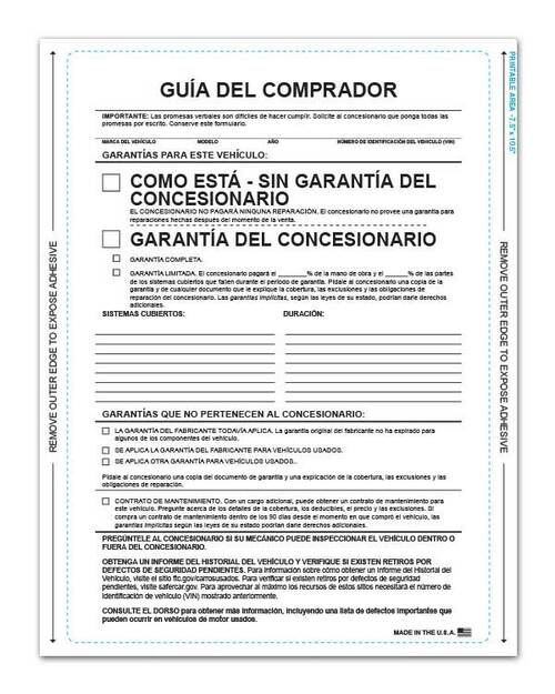 Front: 1-Part Self-Adhesive Buyers Guide - Spanish (As Is With Lines) (Guía Del Comprador) (100 per pack)
