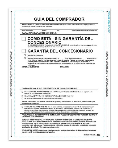 Front: 1-Part Self-Adhesive Buyers Guide - Spanish (As Is No Lines) (Guía Del Comprador) (100 per pack)