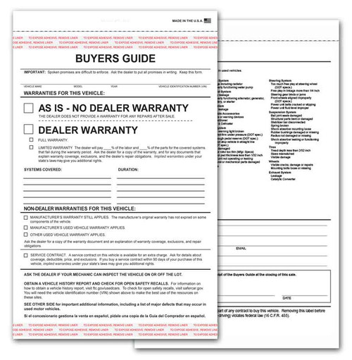 2-Part Buyers Guide Form - Adhesive Tape - English - As Is - Warranty *** FREE SHIPPING *** (100 per pack)