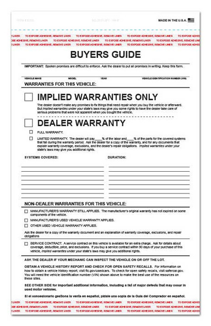 Front: 2-Part Buyers Guide Form - Adhesive Tape - English - Implied Warranty *** FREE SHIPPING *** (100 per pack)