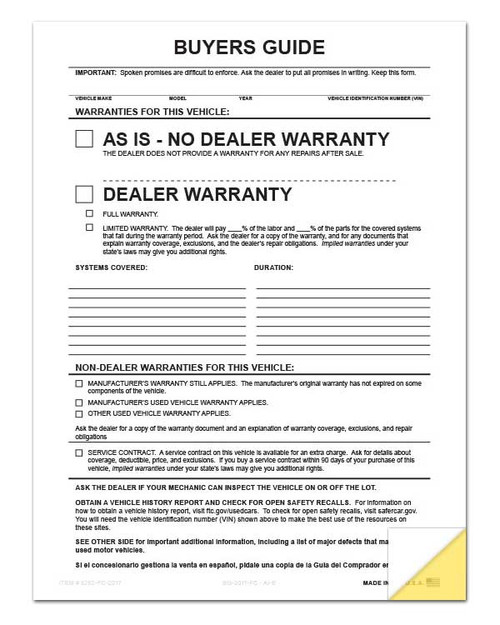 Front: 2-Part Buyers Guide Form File Copy - No Tape - As Is - Warranty *** FREE SHIPPING *** (100 per pack)