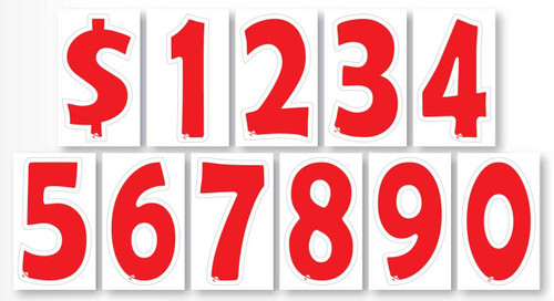 """Advertising Numbers Window Stickers (7"""" Red and White - A-Peel Cut Out Digits) (12 per pack)"""
