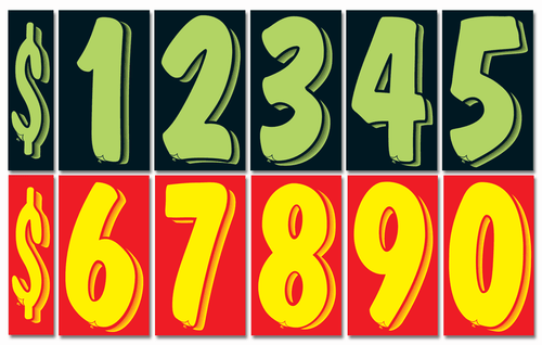 """Advertising Number Window Stickers (7.5"""" Tall) (Green & Black or Yellow & Red) (12 per pack)"""