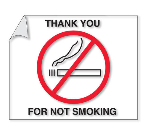 No Smoking Reminder - Static Cling (Form #NSSC) (100 per pack)