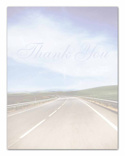 Laser Cut Sheets - Thank You Message (Full-Color Road Image) (250 per pack)
