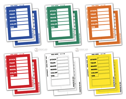 Kleer-Bak Stock Stickers - Blue, Green, Orange, Red, White, Yellow (Bundle - 2 packs of 100 - 200 total)