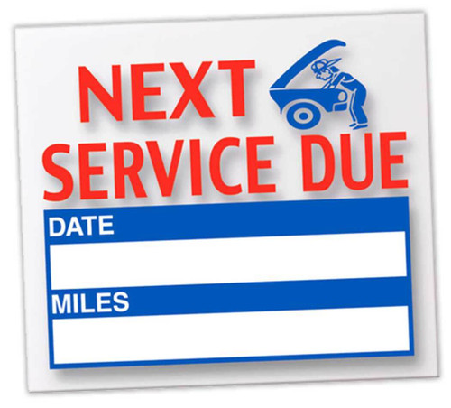 Next Service Due Reminder Stickers - Static Clings - For Oil Changes, Tune-Ups, Tire Rotations, and more (100 Per Pack)
