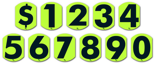 4 Inch Bubble Digits - Vinyl Window Sticker Numbers (Fluorescent Green and Black) (12 per pack)