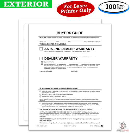 Outside Buyers Guides - As Is Or Dealer Warranty - Stick To Outside Of Window (100 Per Pack)