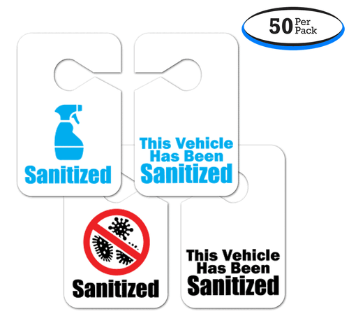 Sanitized Plastic Hang Tag Signs - Vehicle Assurance Hanging MPE Tags - 3.5 x 5.5 Inches (50 Per Pack)