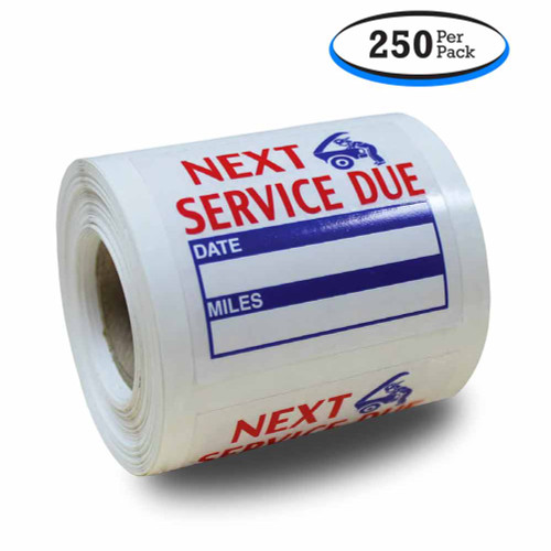Roll Of Next Service Due Reminder Stickers - Low-Tack Removable Adhesive (250 Per Roll)