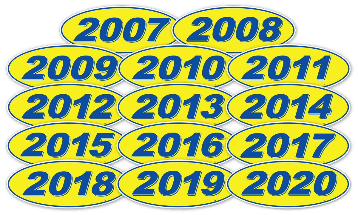 Details About Oval Model Years Vinyl Car Window Stickers Blue On Yellow 12 Per Pack