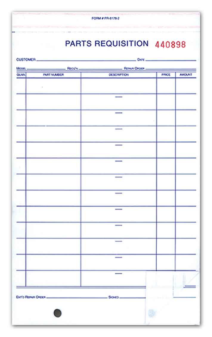 Parts Requisition Form 3-Parts Pack of 1,000