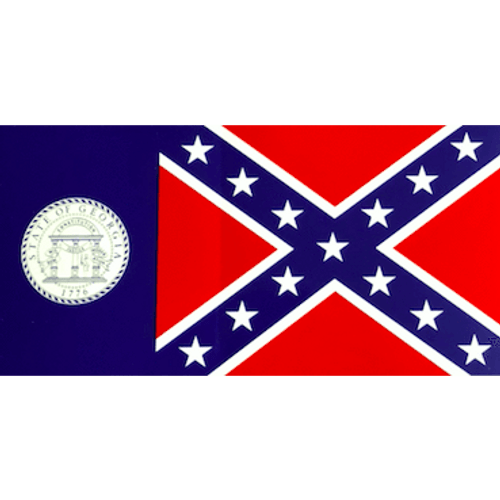 State of Georgia Flag with Confederate Flag Sticker