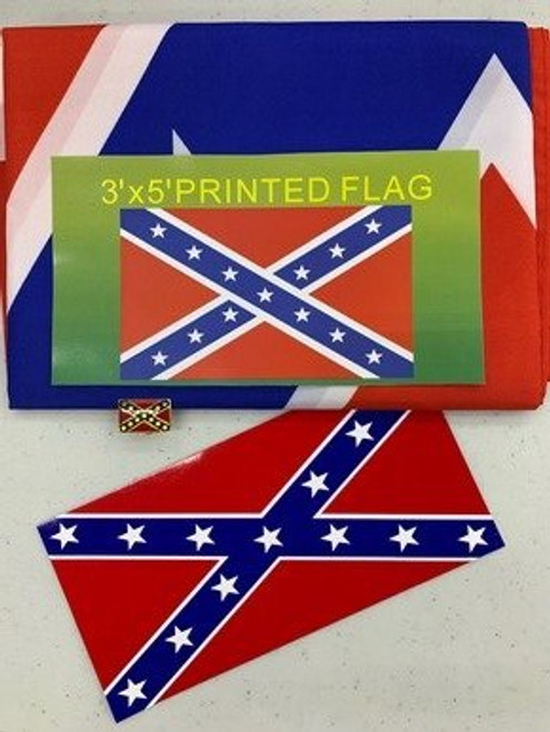 CONFEDERATE FLAG, STICKER AND LAPEL PIN