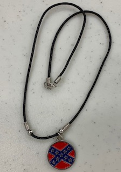 Confederate Flag Round Necklace
