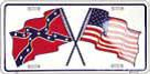 Confederate and American  Flag License Plate