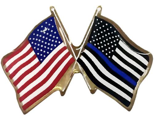 USA & Blue Line USA Lapel Pin