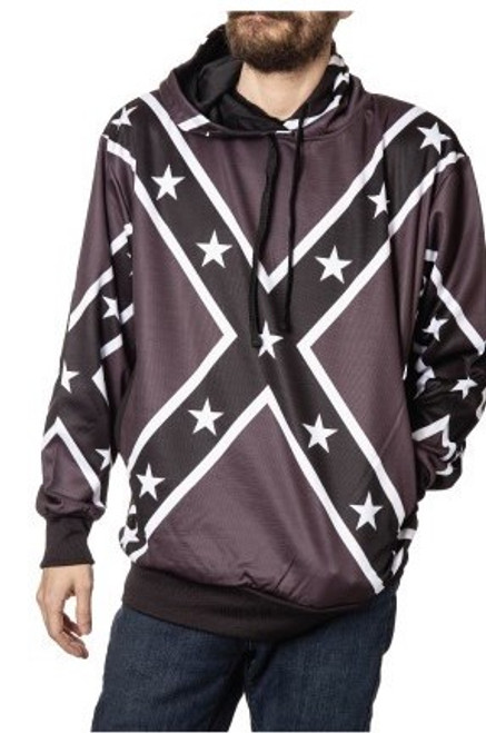 Black & White Confederate Flag Hoodie