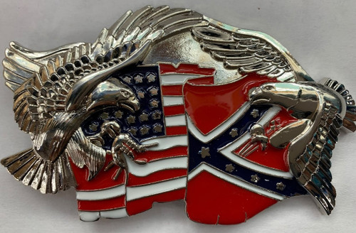 Two Eagles with USA and Confederate Flags Belt Buckle