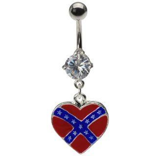 Dangling Heart Confederate Rebel Flag Belly Ring