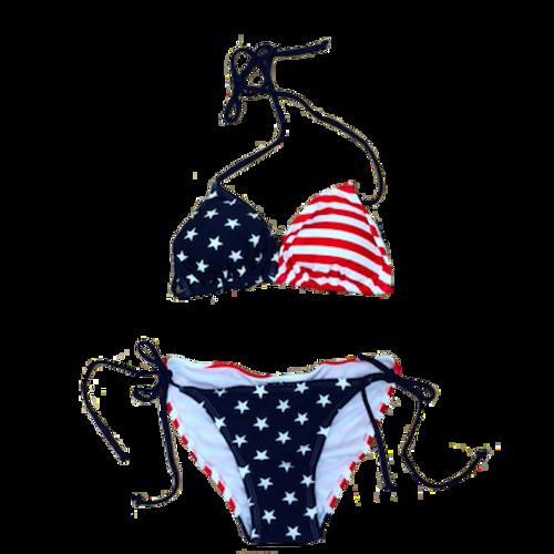 American Flag Bikini w/ Spaghetti Straps