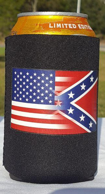 Half and half USA/Confederate Flag koozie