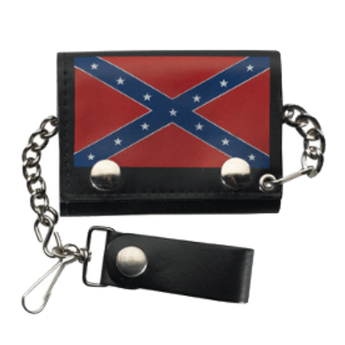 Confederate Flag Leather Trifold Wallet