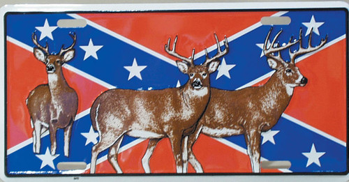Confederate Flag with Deer overlay License Plate