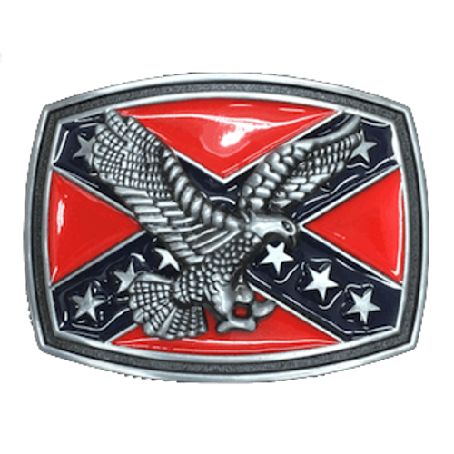 Confederate Flag With Full Eagle Belt Buckle