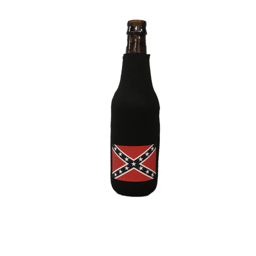 Confederate Flag Bottle Koozie - Black