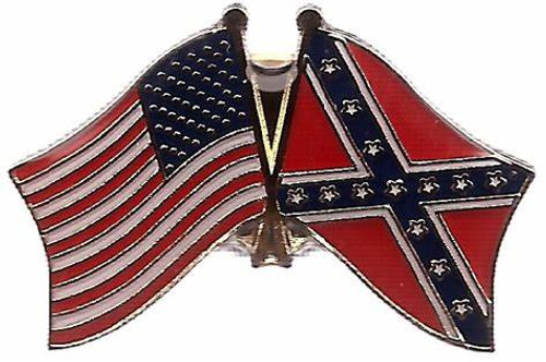 """American and Confederate Flag """"Side By Side"""" Lapel Pin"""