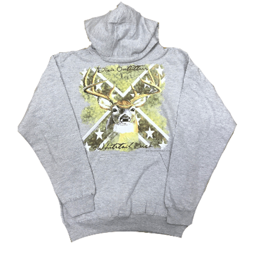 Whitetail Buck Confederate Flag Hooded Sweatshirt