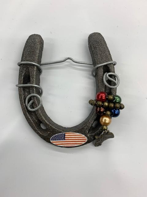 American Flag Horse Shoe. (with bullet casing)